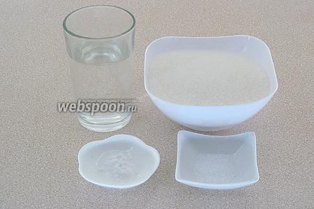 Для приготовления инвертного сиропа нужно взять сахар-песок, горячую воду, пищевую соду (1,5 г = 1/4 ч. ложки без верха) и лимонную кислоту (2 г = 2/3 ч. ложки без верха).