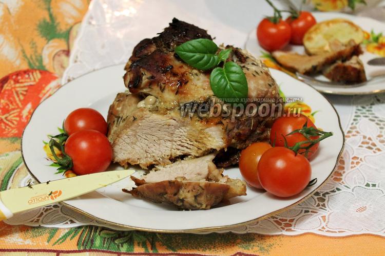 Фото Свинина в горчично-медовом маринаде с тимьяном в духовке