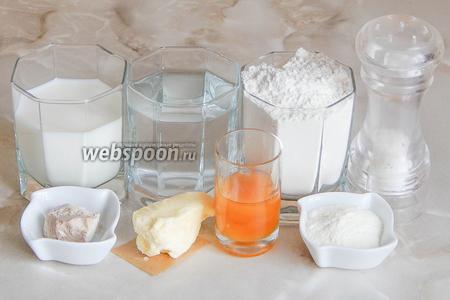 Итак, продукты для приготовления домашнего хлебушка: пшеничная мука, вода кипяченая, дрожжи, соль, мед натуральный, молоко, сухие сливки и масло сливочное.