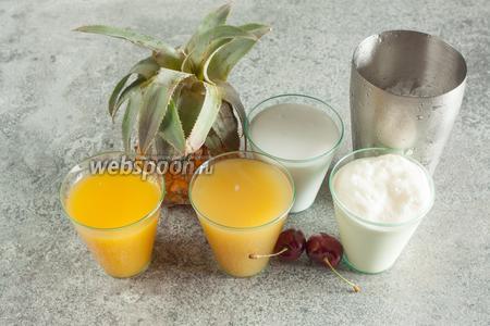 В основной состав коктейля входят ананасовый, апельсиновый соки и кокосовое молоко в равных пропорциях, плюс жирные сливки (немного), чтобы получить при взбивании побольше пены. Дроблёный лёд, можно сказать, технологический компонент, его тоже должно быть мало. Ананас и вишня служат для декора.