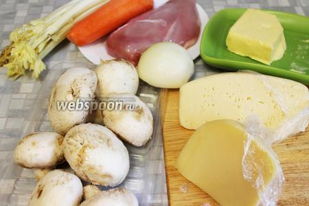 Для супа взять курицу, шампиньоны, сыр, масло, морковь, картофель, сельдерей, шпинат, соль.