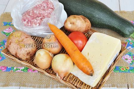 Потребуется цукини среднего размера, лук, картофель, сыр, помидор, фарш, соль сахар, перец, молоко, мука, масло.