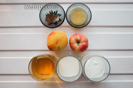 Ингредиенты: яблочный сок, йогурт натуральный, молоко, яблоко, персик, корица, кардамон, мёд.