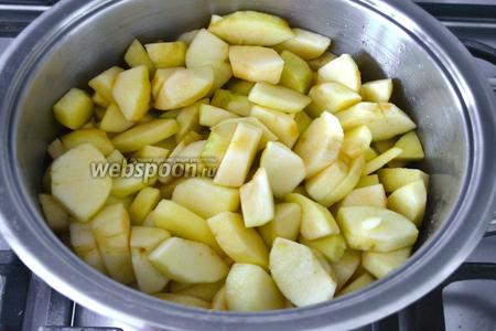 Поставить кастрюлю с яблоками на огонь, довести до кипения и накрыть крышкой. Убавить огонь и тушить яблоки 15-20 минут до испарения жидкости.