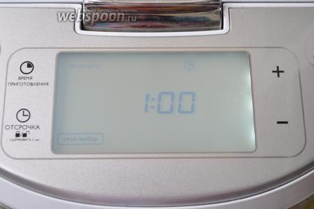Выбрать режим «мультиповар», температуру 100°С и время 1 час.