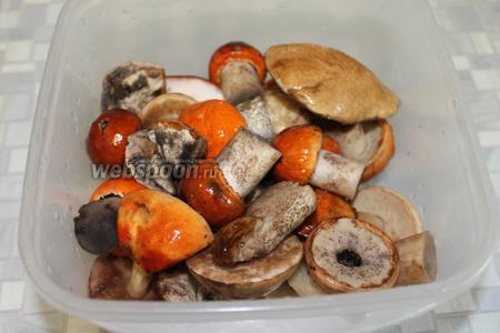 Для маринования взять крепкие мелкие и средние яркие подосиновики, соль.