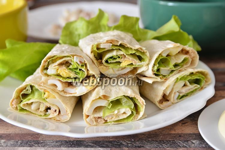 Рецепт Рулет из лаваша с икрой трески и салатом