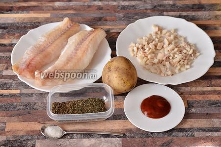 Для приготовления филе тилапии с кальмарами вам понадобится мята и базилик сушёный, томатная паста, картофель, кальмары и соль.