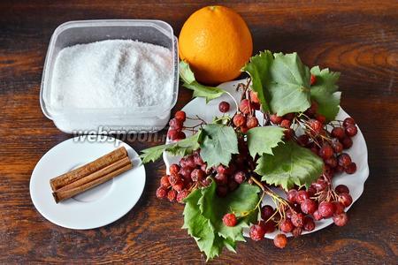 Для приготовления соуса из калины вам понадобится корица, сахар, апельсин и калина.