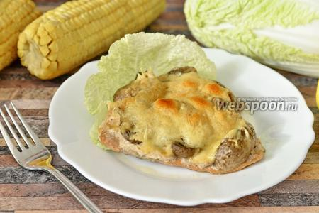 Горбуша с грибами и сыром в духовке