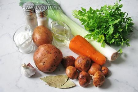 Для приготовления этого блюда потребуются такие продукты: подосиновики свежие, лук-порей, морковь, картофель, сметана, чеснок, подсолнечное масло, лавровый лист, соль, перец чёрный молотый и петрушка.