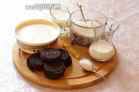 Для приготовления торта из печенья подготовим шоколадное печенье (у меня «Орео»), сыр Маскарпоне, молоко, сахар, ванильную эссенцию, сливки, кокосовую стружка и тёмный шоколад.