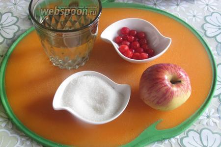 Для варенья нам понадобятся яблоки, вода, сахар, ванильный сахар и калина, у меня замороженная, можно, свежую.