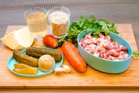 Для приготовления рассольника с куриными сердечками нам потребуется вода, куриные сердечки, корень сельдерея, перловка, солёные огурцы, перец и патиссон, огуречный рассол, 2 средние морковки и 2 луковицы, томатная паста, петрушка и зелень (ботва) редиса, чеснок, чёрный и душистый перец, лавровый лист, соль. Сметана и лимон — для подачи.
