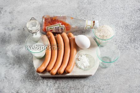 Для ому-райсу нам потребуется 4 яйца, 40 мл воды, щепотка соли и 1 ч. л. крахмала, потому что омлет должен быть особенно плотным. Для риса — 80 г круглозернистого, 1 щепотка соли и достаточно воды, чтобы отварить рис по правилам варки данного конкретного сорта. Для пальцев руки нужны 5 сосисок (по возможности брать те, у которых на месте перекручивания оболочки не звёздочка из складок, а гладкая поверхность без складочек). 1-2 ст. л. кетчупа уйдёт в рис, 3-4 — на декор. Если вы хотите попробовать более аутентичный вкус японского кетчупа, то вмешайте, в привычный вам, где-то 1 чайную ложку сахара и 1 чайную ложку уксуса, так вы приблизите вкусовое направление к оригинальному.