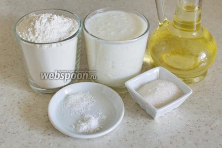 Для приготовления потребуется прокисшее молоко, мука (+/- 1 стакан), сахар, соль, сода, растительное масло для жарки.