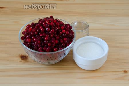 Для пастилы нам понадобятся ягоды брусники, а также сахар и совсем немного воды.