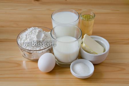 Готовим дрожжевое тесто для хачапури. Для этого берём натуральный йогурт (в идеале это должен быть мацони), молоко, дрожжи сухие, сливочное и растительное масло, яйцо, муку, а также немного сахара и соли.