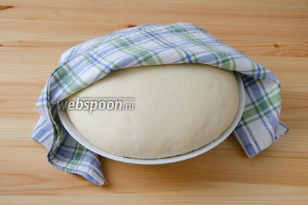 Накрываем тесто полотенцем и отправляем его часа на 1,5 отдохнуть. За это время оно должно подрасти в 2 раза.