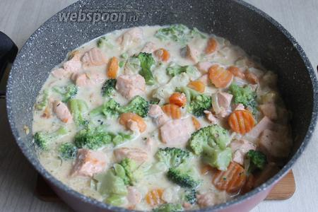 Добавляем овощи к рыбе. Выключаем плиту.