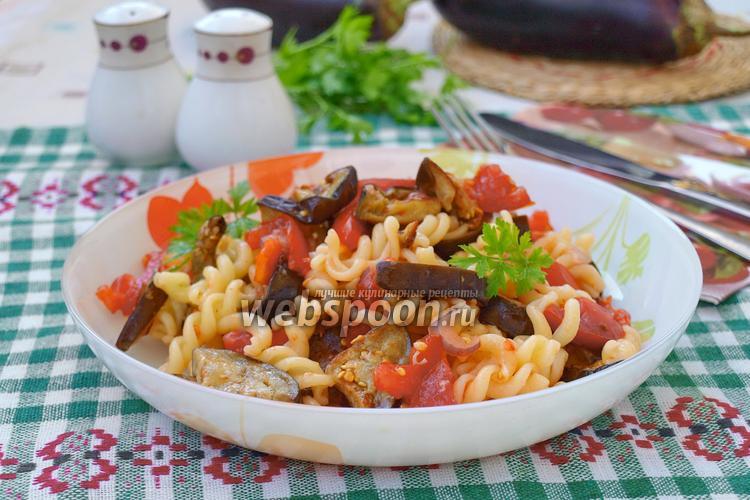 Фото Тёплый салат из баклажанов с пастой
