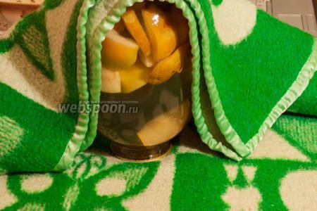 Перевернуть и укутать одеялом на 1 сутки. После этого банку убрать в кладовку или в погреб до зимы. Главное, вытерпеть и не открыть раньше! А пока, можно пить свежесваренные компоты. Приятного аппетита!
