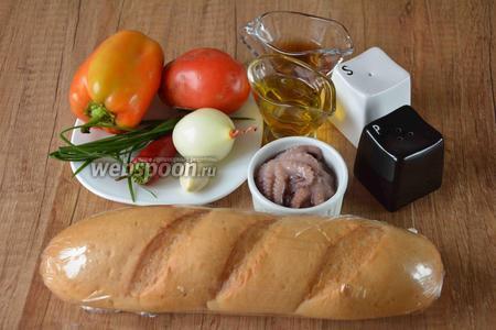 Для приготовления нам понадобится мини-багет, осьминоги в рассоле, помидор, перец болгарский, перец чили, лук репчатый, чеснок, зелёный лук, масло подсолнечное рафинированное, яблочный уксус, соль, перец чёрный молотый.