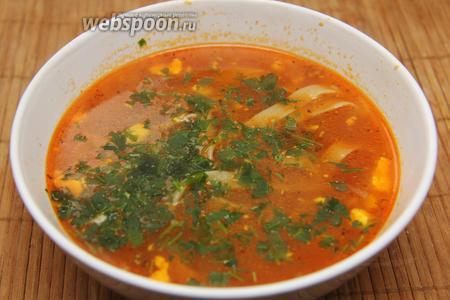 Подавать суп с рубленной зеленью. Суп должен быть горячим. Приятного аппетита!