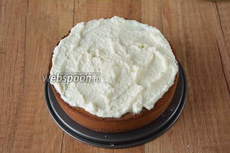 Когда коржи остынут, приступаем к сборке торта. Коржи, в данном случае, я не разрезала на 2 половины, использовала целые по высоте у меня получился каждый корж, около 3-4 сантиметров. Итак, на остывший бисквит выкладываем сливочным кремом.
