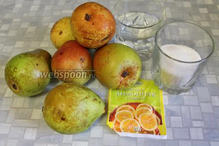 Для компота взять груши, сахар, воду и лимонную кислоту.