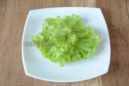 Салат порвать руками, выложить листья салата в центр тарелки. Из лимона выжать сок, полить листья салата лимонным соком.