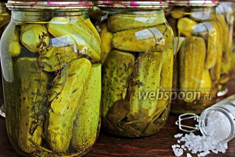 Фото Консервированные огурцы с тимьяном