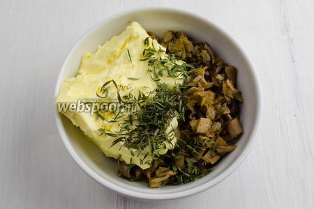 Мягкое масло, жареные грибы с луком и тимьян перемешать. Выровнять вкус на соль.