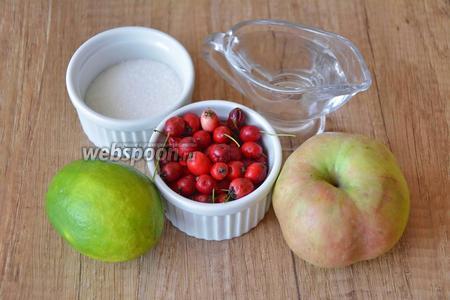 Для приготовления необходим сахар, боярышник, яблоки, вода, сок лайма.