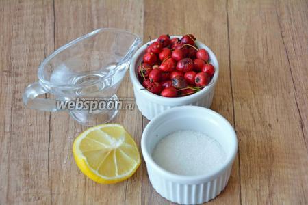 Для приготовления нам необходим боярышник, сахар, вода, сок лимона.