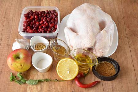 Для приготовления необходим цыплёнок, яблоко, лимон, кизил, острый перец, чеснок, мёд, масло подсолнечное, вино белое, мята, специи, соль.