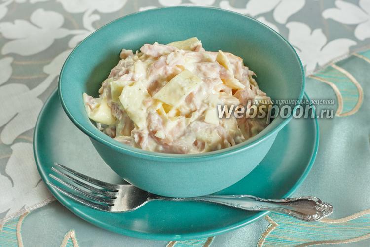 Рецепт Салат из копчёной курицы с омлетом