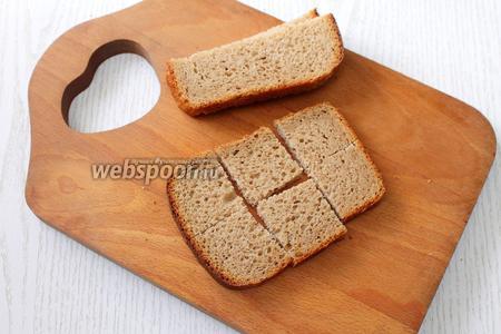 Каждый ломтик хлеба разрезаем на 6 частей.