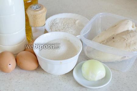 Для приготовления понадобится молоко, мука, соль, перец, куриная грудка, лук репчатый, масло растительное, яйца, укроп.