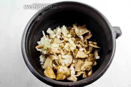 Сверху выложить отваренные грибы с луком.