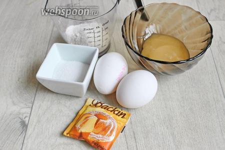 Итак, нам нужны ингредиенты: мёд, мука, яйца, сахар, разрыхлитель и краска.