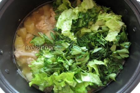 Нарезаем зелень и отправляем её к уже готовому, но ещё не измельчённому супу.