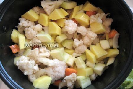 Перемешиваем все составляющие, на дисплее выбираем режим «Выпечка» и обжариваем овощи в течение 30 минут, периодически помешивая.