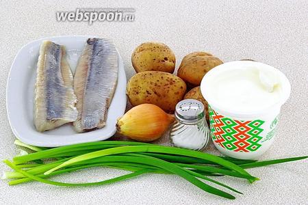 Для приготовления салата нужно взять филе солёной сельди, картофель, репчатый и зелёный лук, сметану и соль.