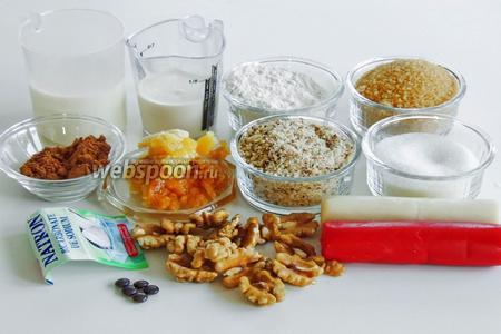 Подготовим ингредиенты: муку 2 сорта или полбяную, тростниковый сахар и сахарную пудру, орехи мелко измельчённые, пряности и соду, молоко и сливки (могут быть любой жирности), марципан (красный и белый по 240 г) и конфеты драже Смарти (12 штук) для глаз.
