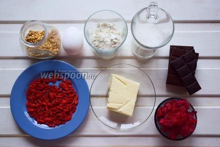 Ингредиенты: масло сливочное, яйца куриные, сахар, мука, шоколад, малина, арахис, годжи.