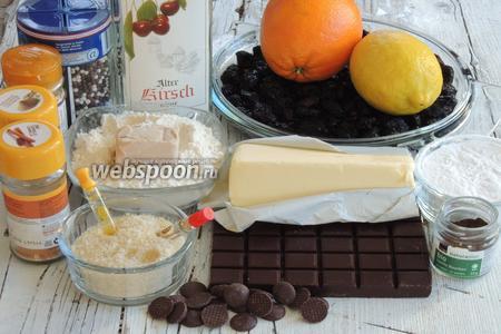Подготовим ингредиенты все по списку, всё отмеряем и взвешиваем, чтоб потом было удобнее. Сливочное масло мягкое, цедра с 1 лимона и цедра с 1 апельсина, шоколад не менее 70 % какао.
