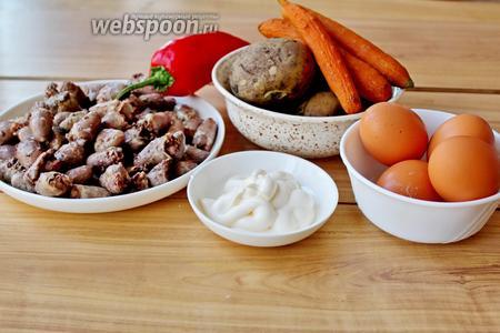 Приготовим все ингредиенты: куриные отварные сердечки, отварные картофель и морковь, яйца, майонез, сметану, сладкий перец, зелёный лук, соль и кукурузу для украшения.