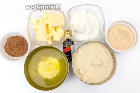 Для приготовления нам понадобится мука пшеничная, мука миндальная, сахар, какао, сливочное масло, ванильная эссенция, яйца (нам понадобятся только белки), соль.