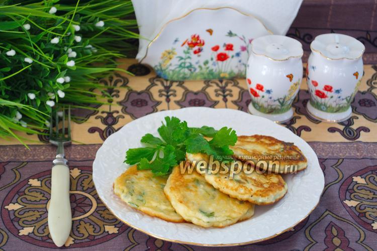 Рецепт Оладьи из брынзы с зеленью и сметаной